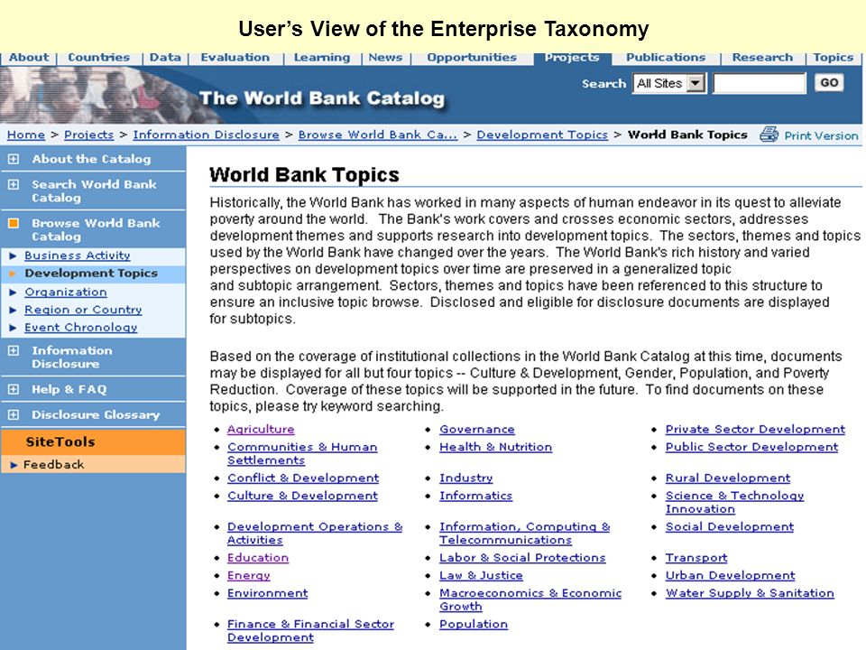 User's View of the Enterprise Taxonomy