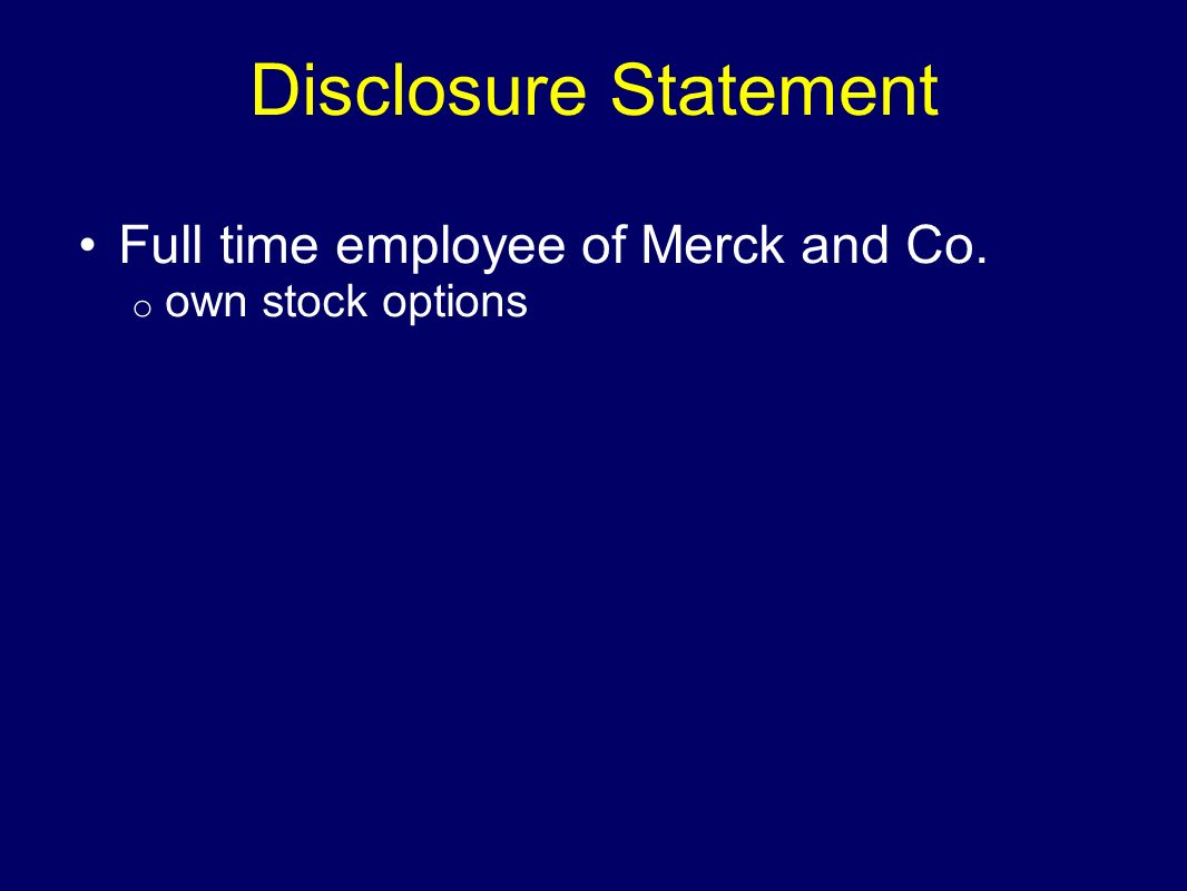Full time employee of Merck and Co. own stock options