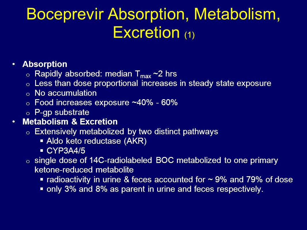 Boceprevir Absorption, Metabolism, Excretion (1)