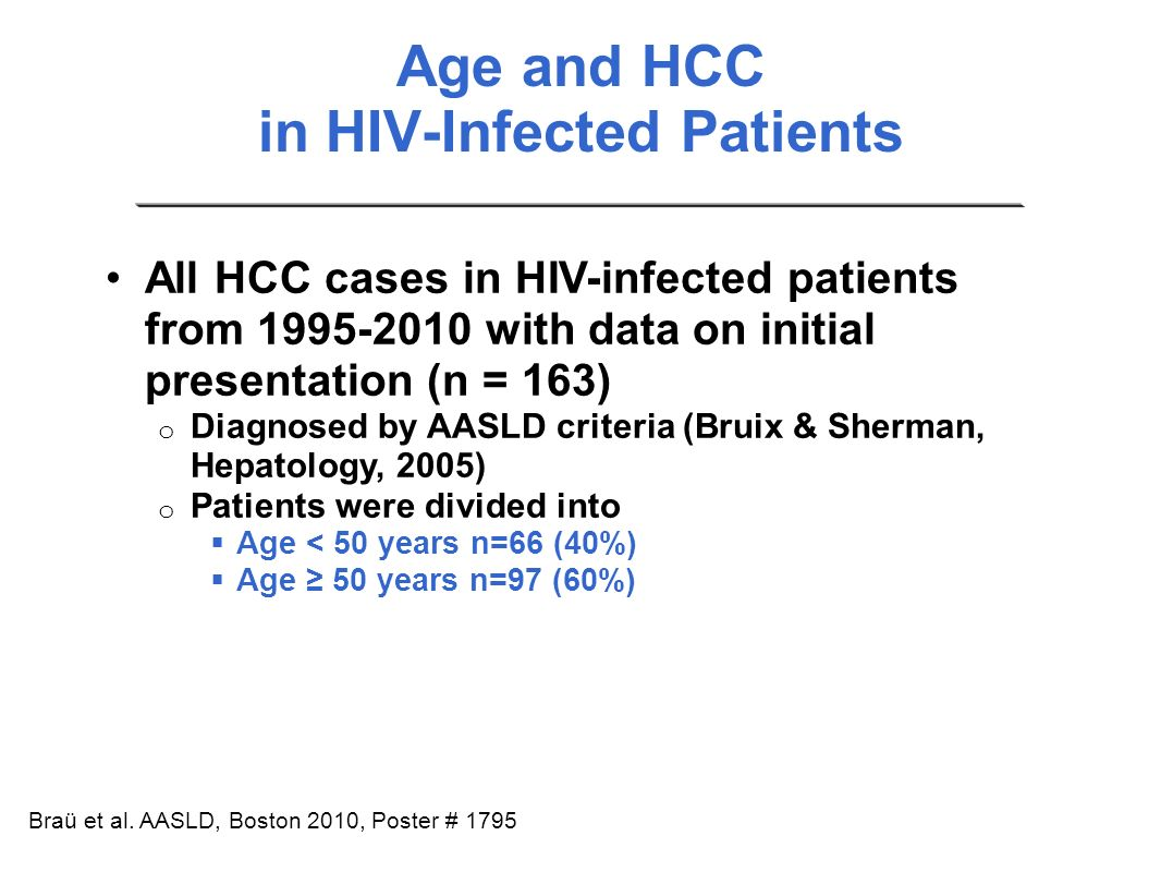 Age and HCC in HIV-Infected Patients
