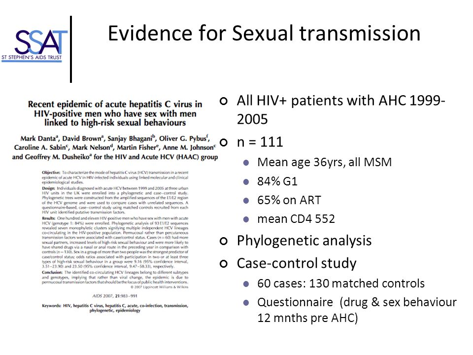 Evidence for Sexual transmission
