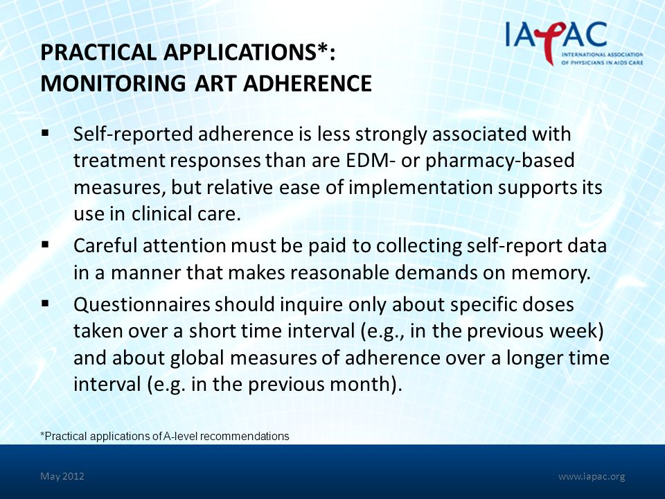 PRACTICAL APPLICATIONS*: MONITORING ART ADHERENCE