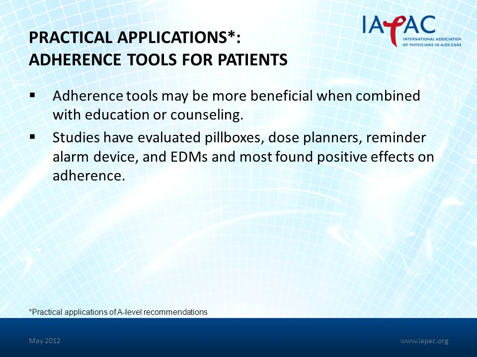 PRACTICAL APPLICATIONS*: ADHERENCE TOOLS FOR PATIENTS