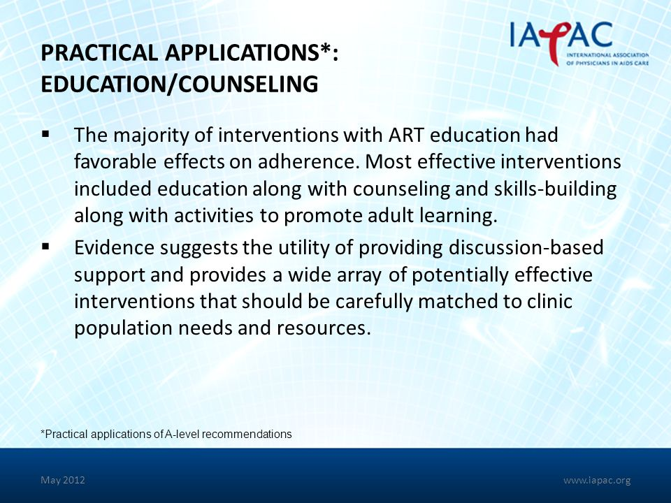PRACTICAL APPLICATIONS*: EDUCATION/COUNSELING