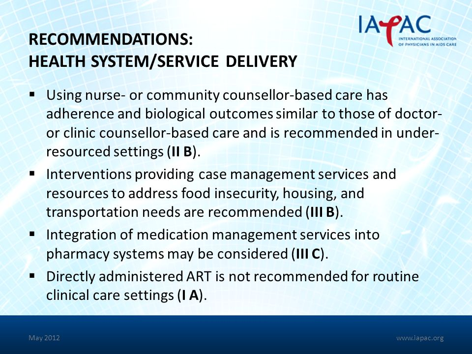 RECOMMENDATIONS: HEALTH SYSTEM/SERVICE DELIVERY
