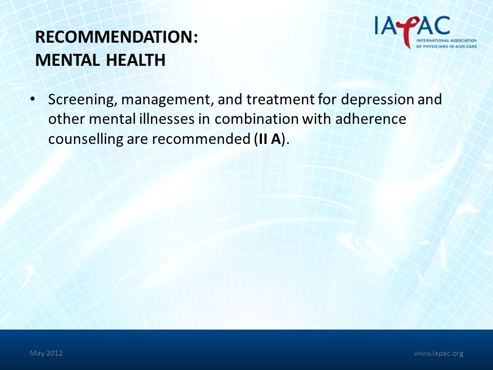 RECOMMENDATION: MENTAL HEALTH