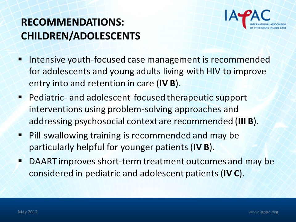 RECOMMENDATIONS: CHILDREN/ADOLESCENTS