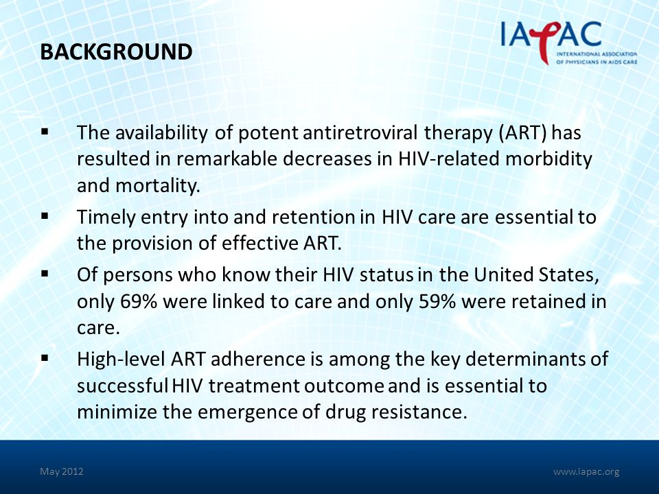 BACKGROUND The availability of potent antiretroviral therapy (ART) has resulted in remarkable decreases in HIV-related morbidity and mortality.