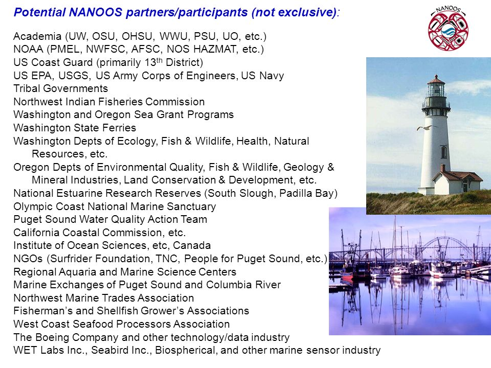 Potential NANOOS partners/participants (not exclusive):