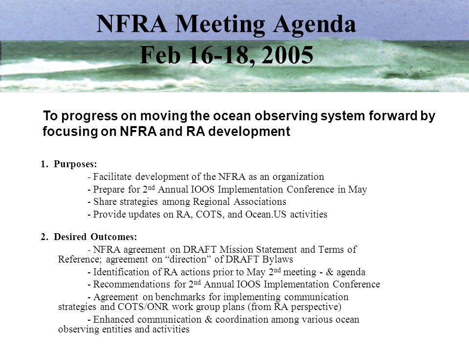 NFRA Meeting Agenda Feb 16-18, 2005
