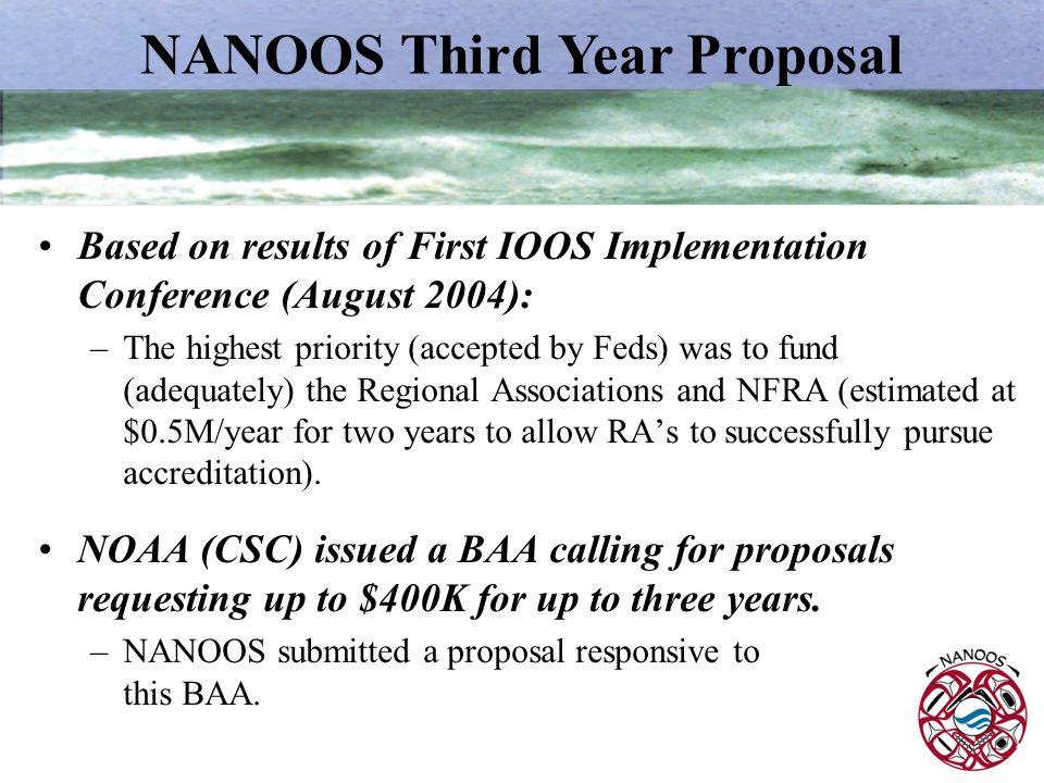 NANOOS Third Year Proposal