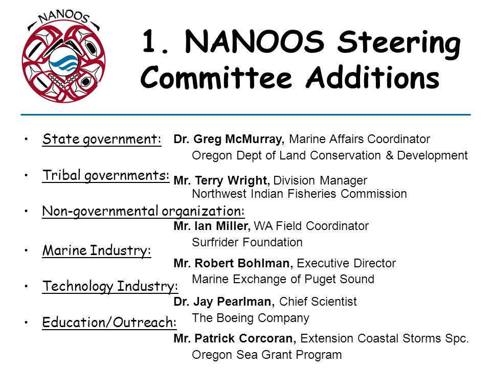 1. NANOOS Steering Committee Additions