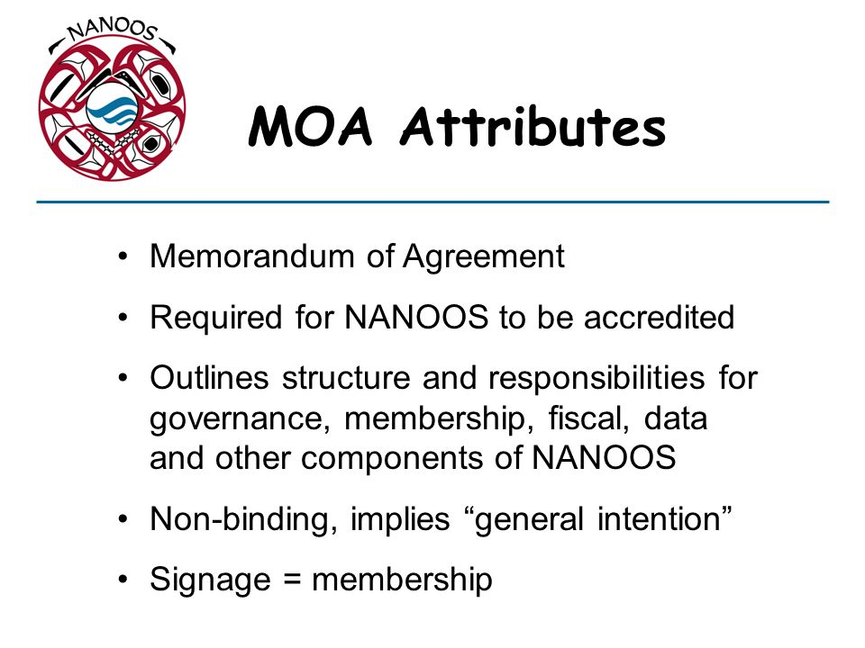 MOA Attributes Memorandum of Agreement