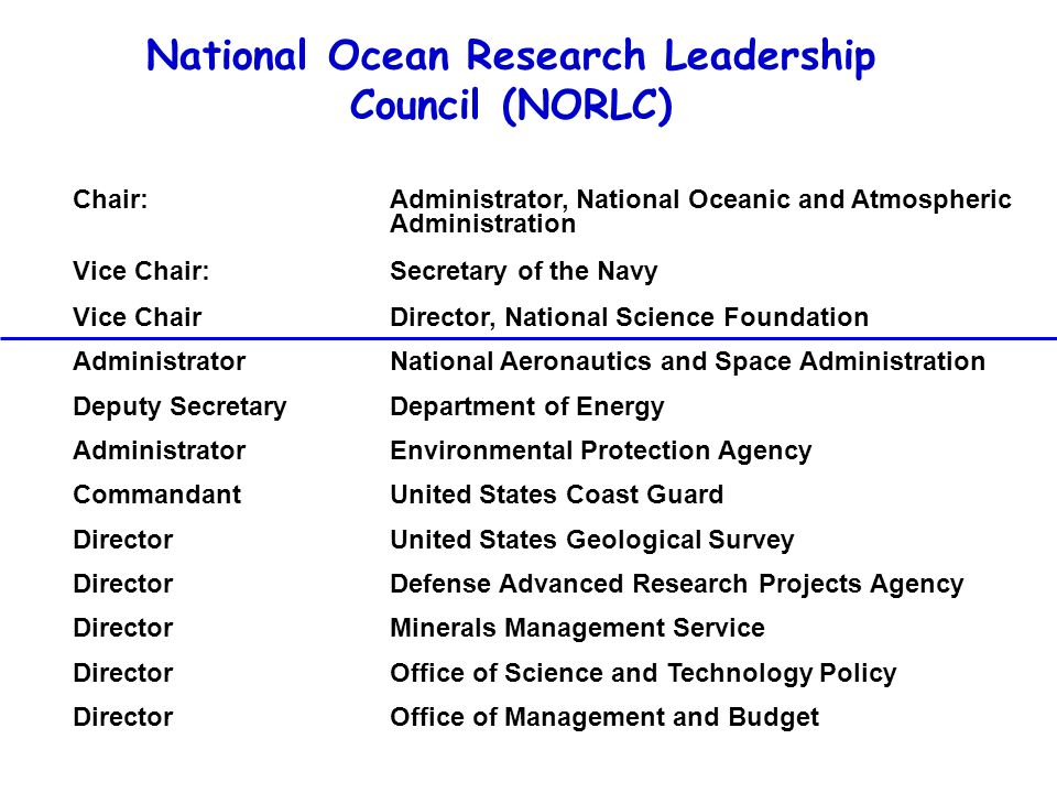 National Ocean Research Leadership Council (NORLC)