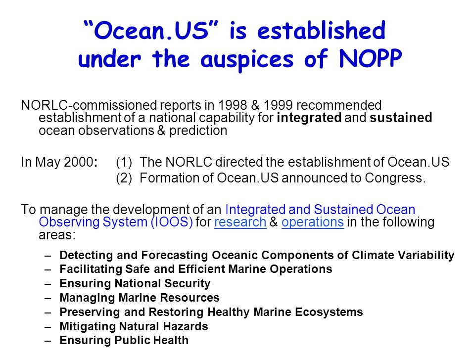 Ocean.US is established under the auspices of NOPP