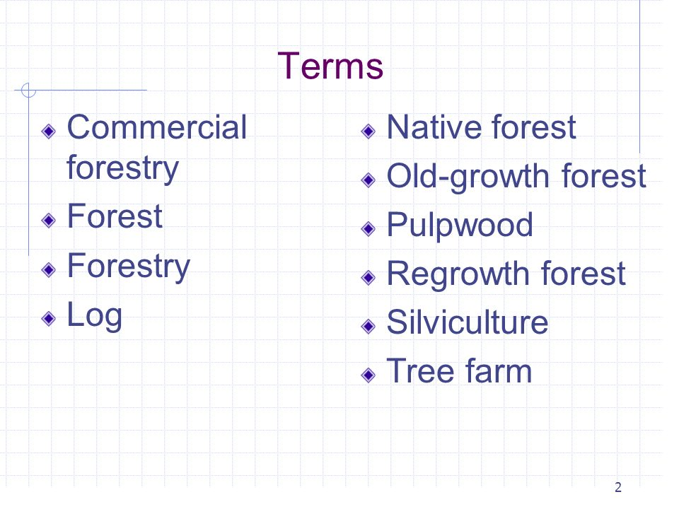 Terms Commercial forestry Forest Forestry Log Native forest