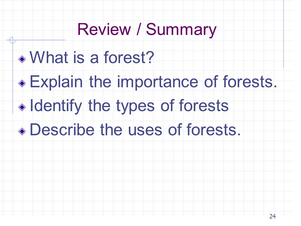 Review / Summary What is a forest Explain the importance of forests. Identify the types of forests.