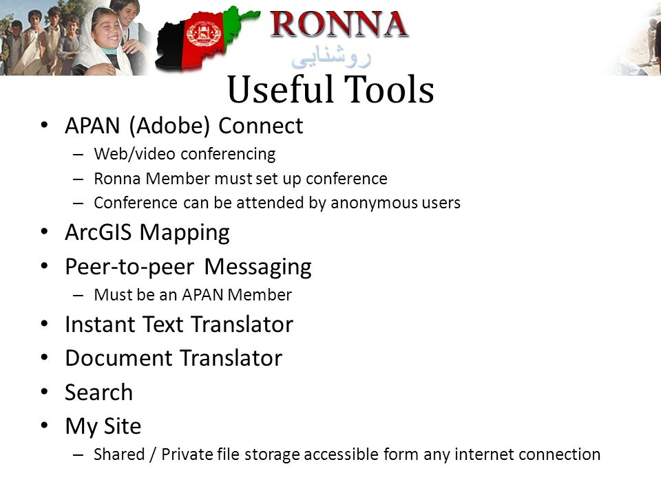 Useful Tools APAN (Adobe) Connect ArcGIS Mapping