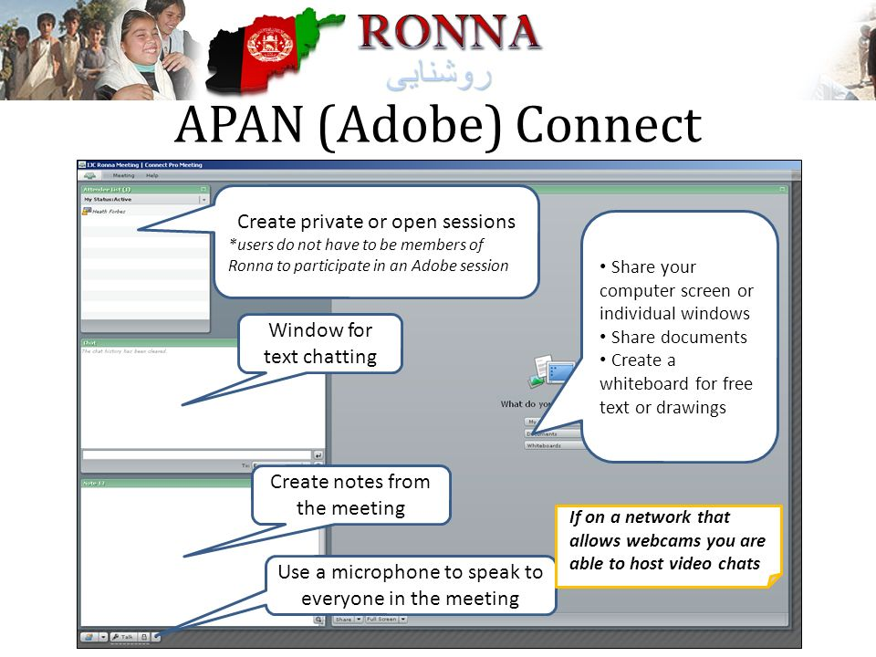 APAN (Adobe) Connect Create private or open sessions