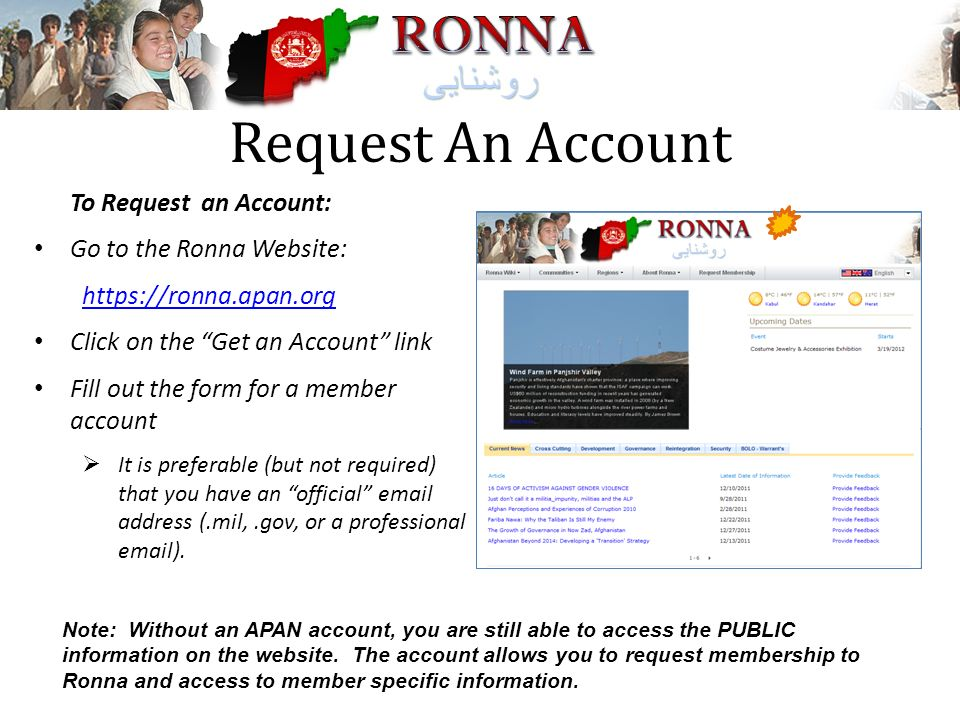 Request An Account To Request an Account: Go to the Ronna Website: