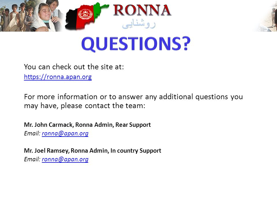 QUESTIONS You can check out the site at: