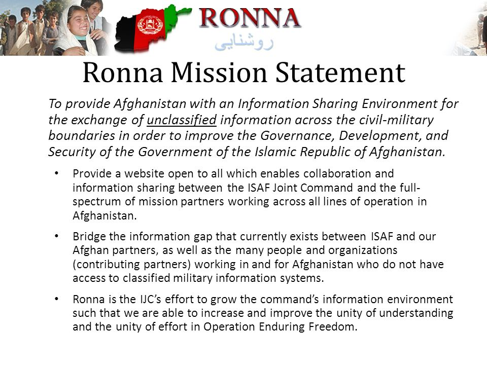 Ronna Mission Statement