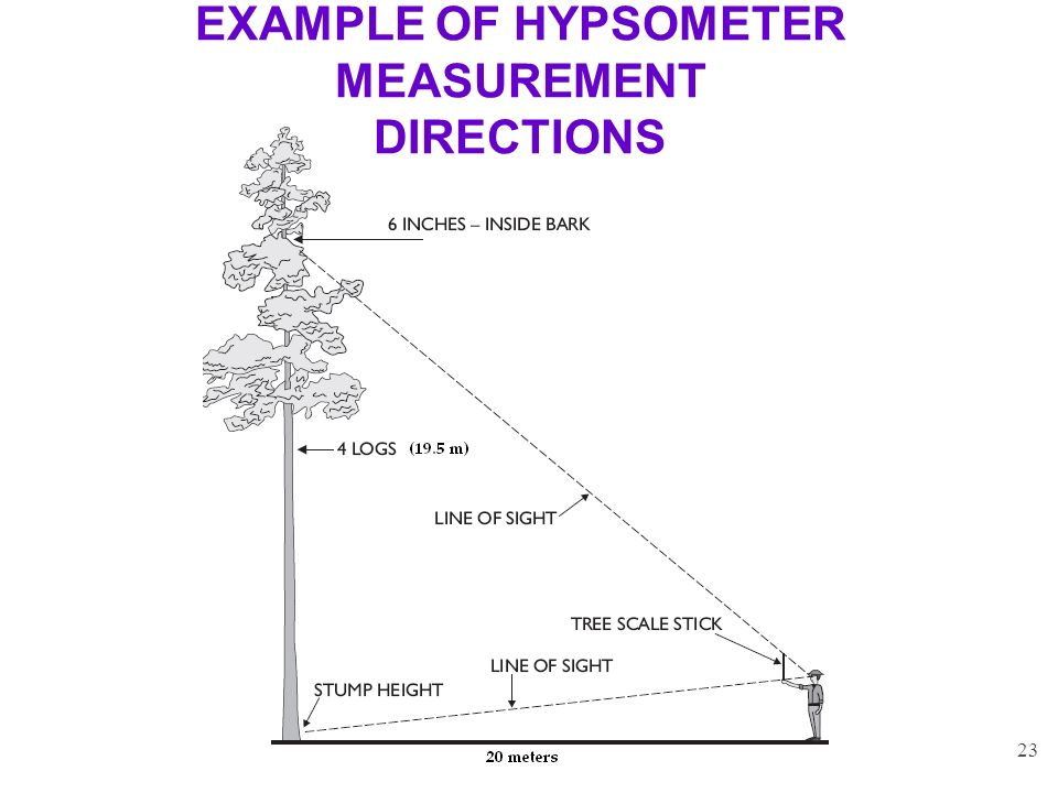 EXAMPLE OF HYPSOMETER MEASUREMENT DIRECTIONS