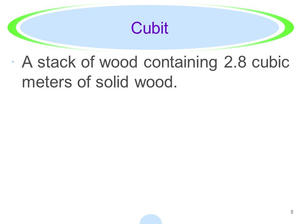 Cubit A stack of wood containing 2.8 cubic meters of solid wood.