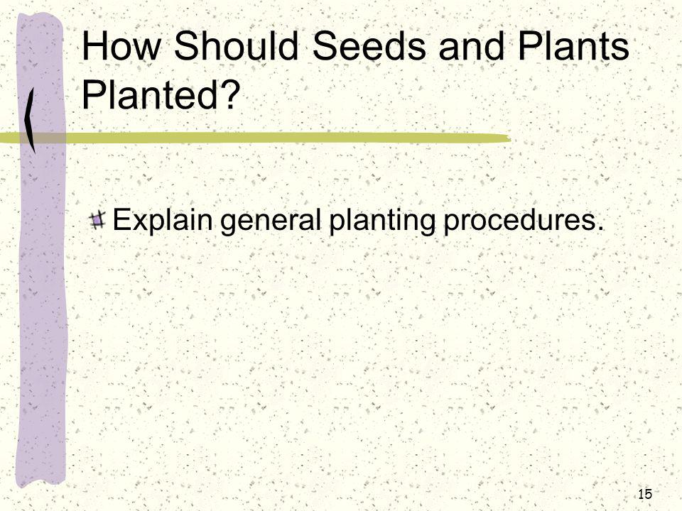 How Should Seeds and Plants Planted