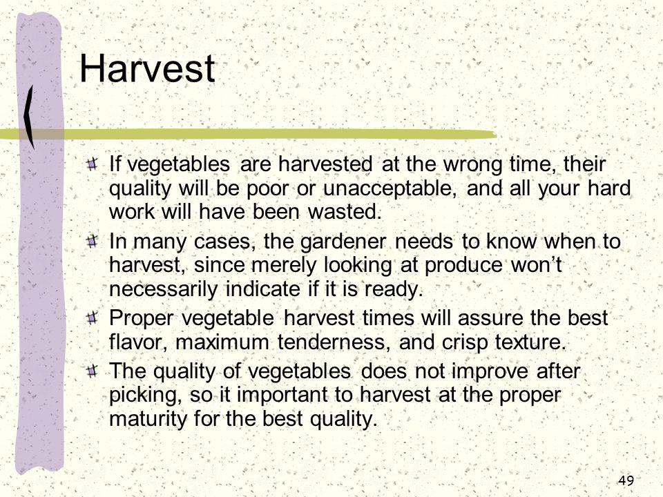 Harvest If vegetables are harvested at the wrong time, their quality will be poor or unacceptable, and all your hard work will have been wasted.