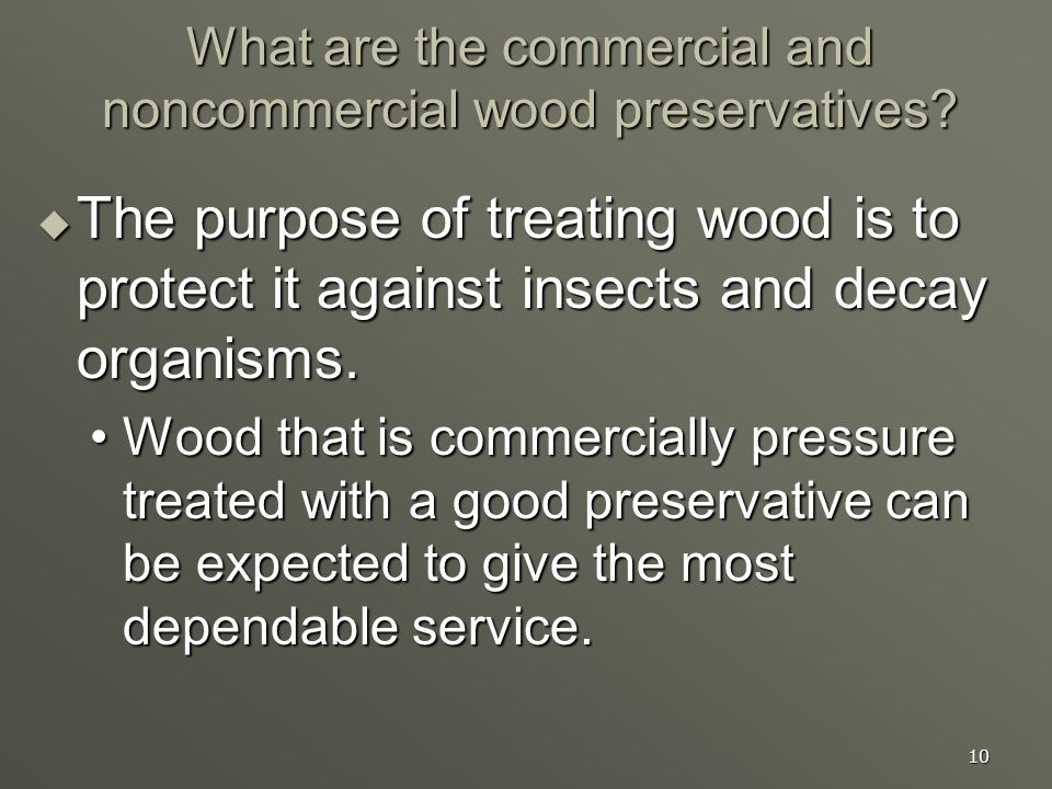 What are the commercial and noncommercial wood preservatives