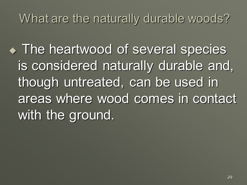 What are the naturally durable woods