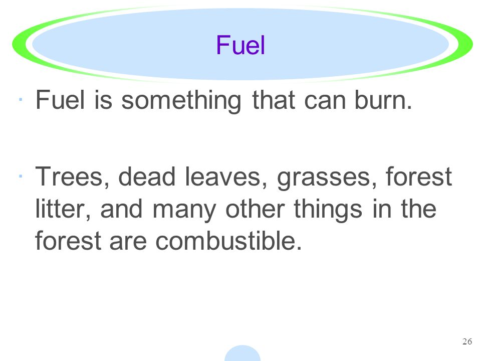 Fuel Fuel is something that can burn.