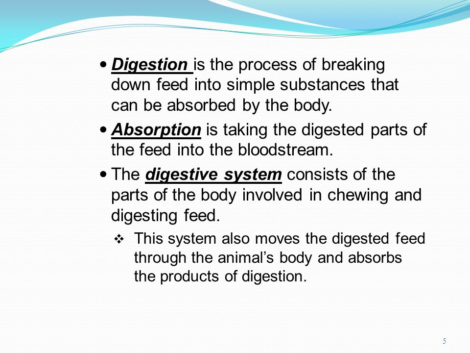 Digestion is the process of breaking down feed into simple substances that can be absorbed by the body.