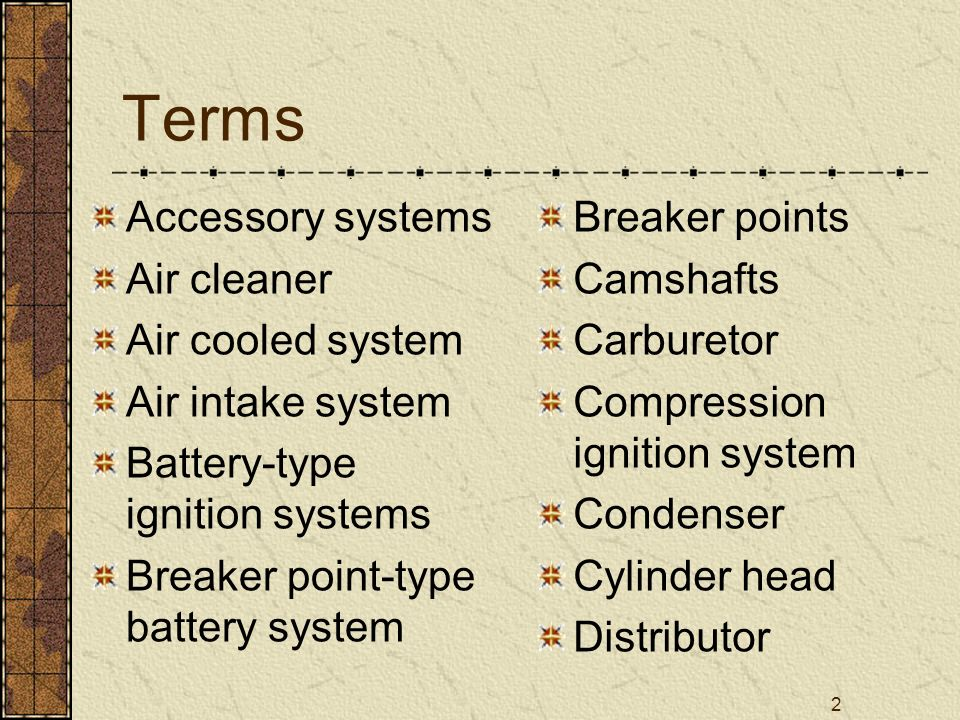 Terms Accessory systems Air cleaner Air cooled system