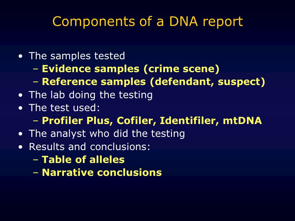 Components of a DNA report