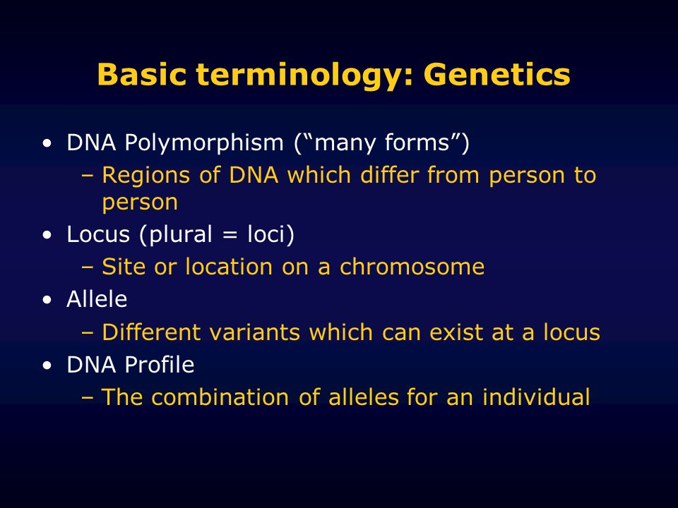 Basic terminology: Genetics