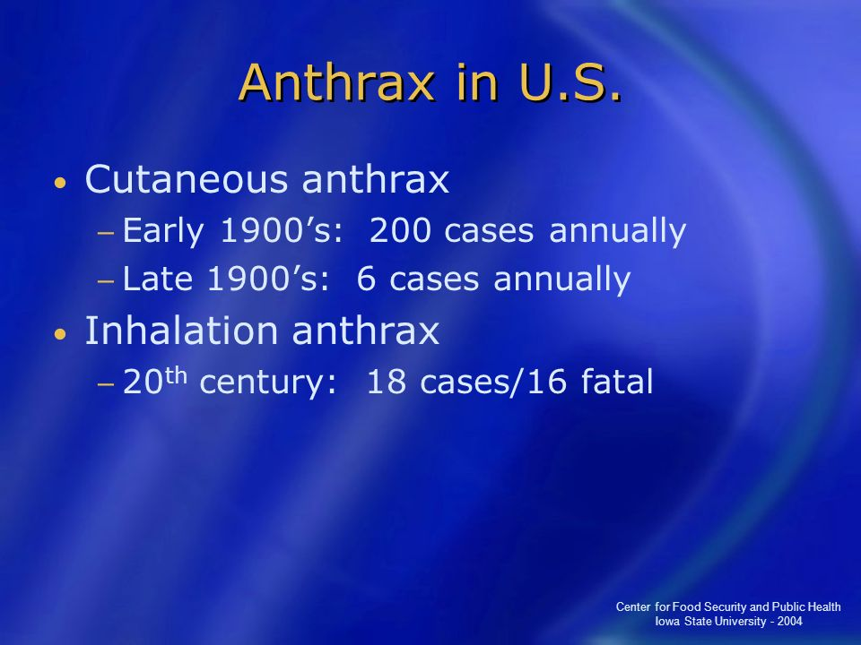 Anthrax in U.S. Cutaneous anthrax Inhalation anthrax