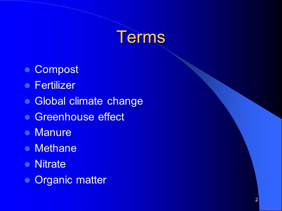 Terms Compost Fertilizer Global climate change Greenhouse effect