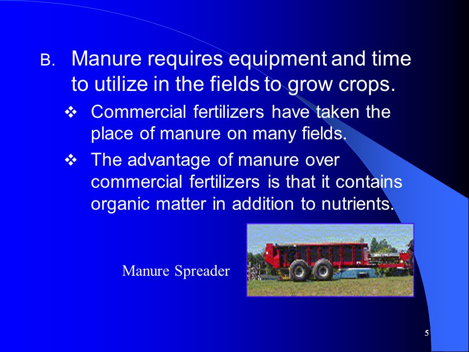 Manure requires equipment and time to utilize in the fields to grow crops.