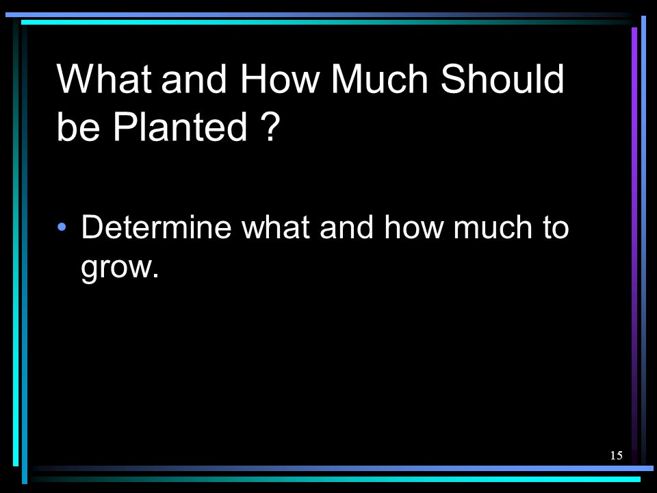 What and How Much Should be Planted