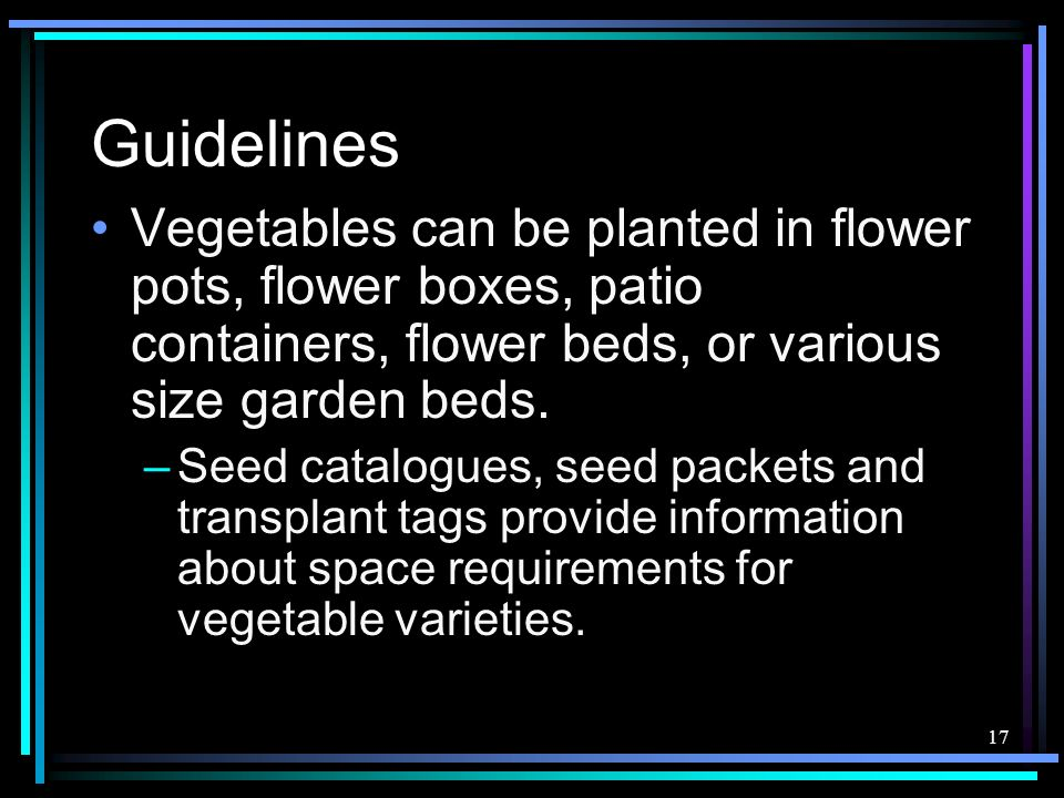 Guidelines Vegetables can be planted in flower pots, flower boxes, patio containers, flower beds, or various size garden beds.