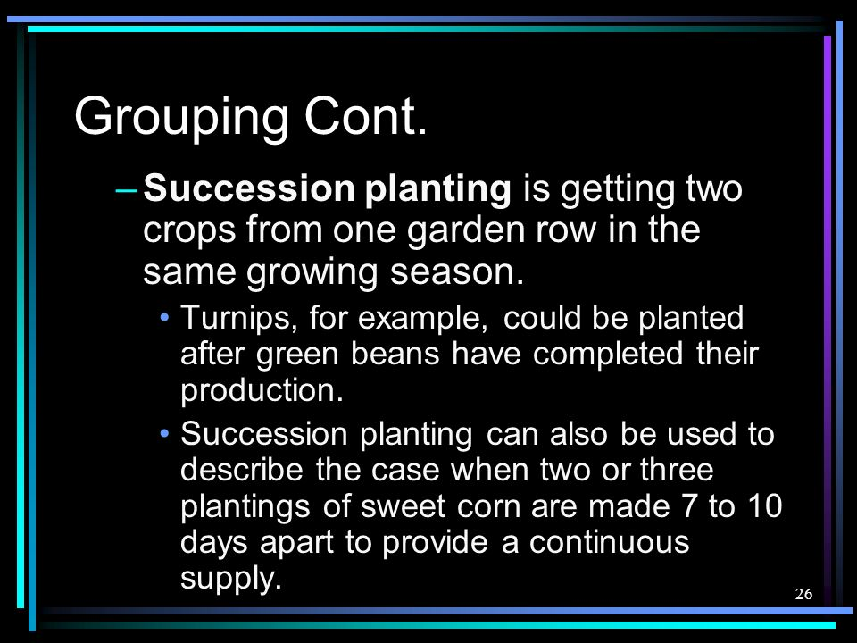 Grouping Cont. Succession planting is getting two crops from one garden row in the same growing season.