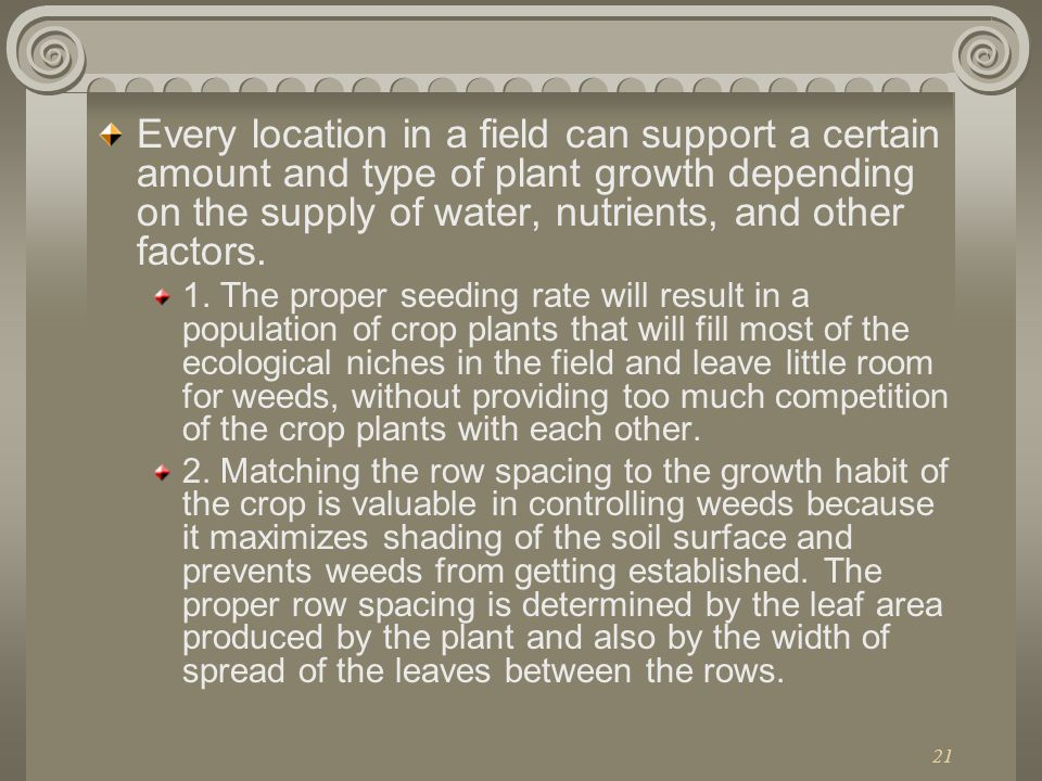 Every location in a field can support a certain amount and type of plant growth depending on the supply of water, nutrients, and other factors.