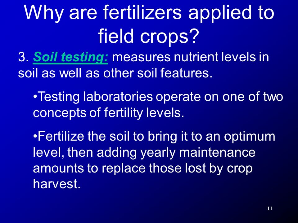 Why are fertilizers applied to field crops