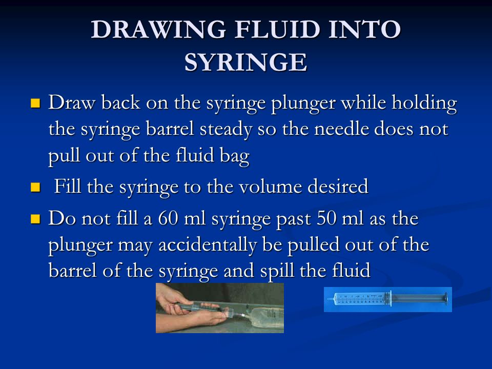 DRAWING FLUID INTO SYRINGE