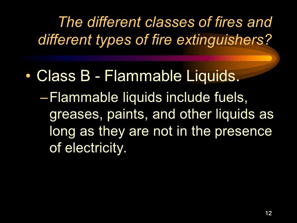 Class B - Flammable Liquids.