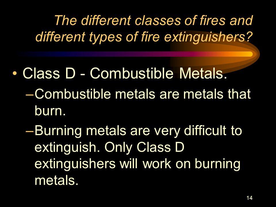 Class D - Combustible Metals.