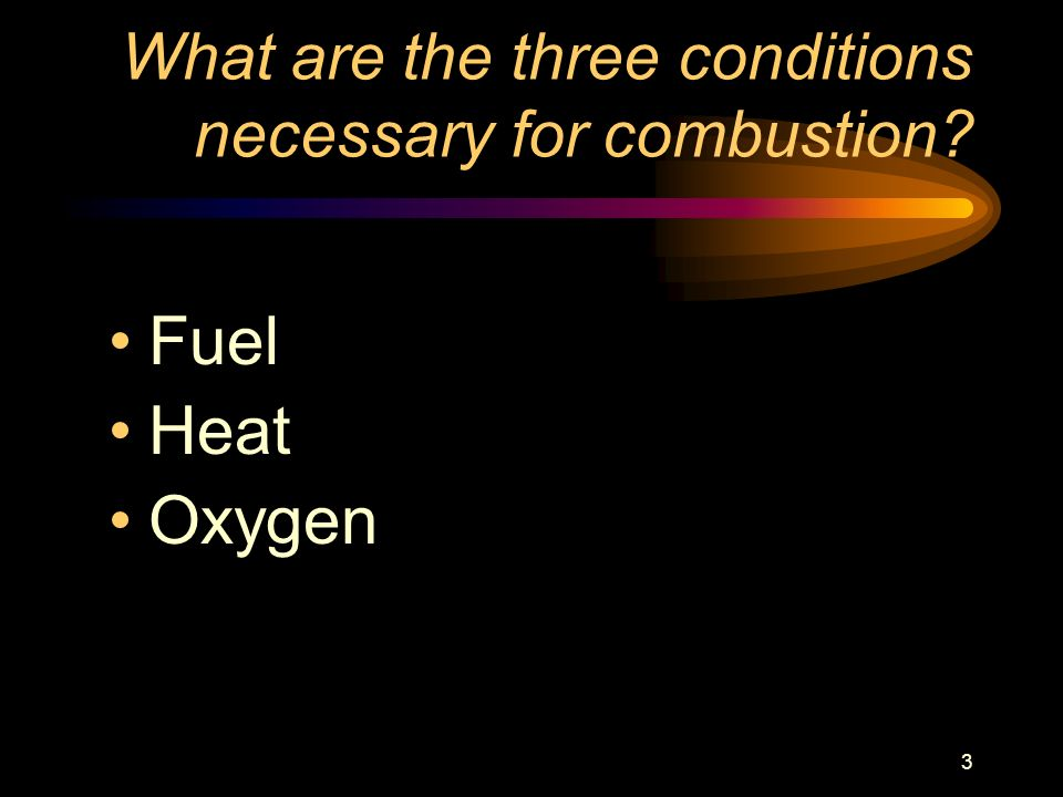 What are the three conditions necessary for combustion