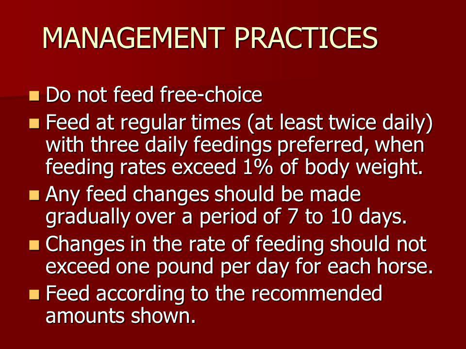 MANAGEMENT PRACTICES Do not feed free-choice